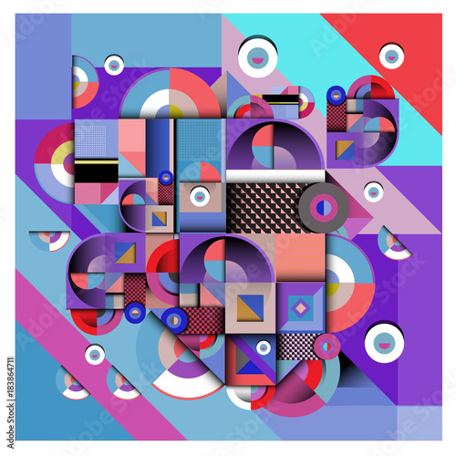 Poster Art abstrait Trendy geometric elements memphis greeting cards design. Retro style texture, pattern and elements. Modern abstract design poster and cover template