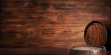 Rustic Wooden Barrel On A Nigh...