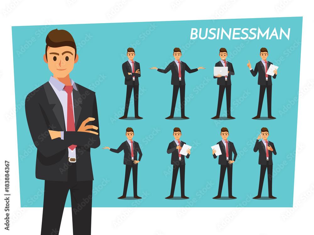 Fototapeta businessman set  ,Vector illustration cartoon character.