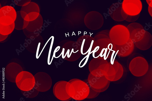 Happy New Year Celebration Text Over Red Duotone Bokeh Lights Background Canvas Print