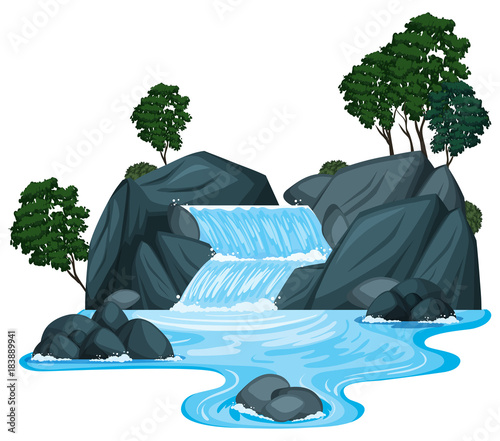 Scene with waterfall and river running down