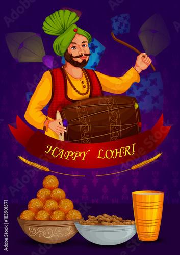 Cuadros en Lienzo Happy Lohri Punjabi religious holiday background for harvesting festival of Indi