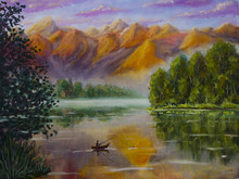 Oil Painting Fisherman In Boat Is Fishing. A Calm Lake. Reflection. Beautiful Orange Violet Mountains. Green Coast. Dawn. Sunset. Peace And Quiet Illustration. Art.