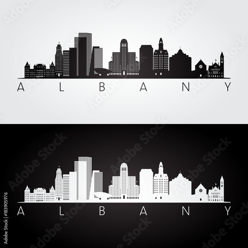 Fotografie, Tablou Albany usa skyline and landmarks silhouette, black and white design, vector illustration