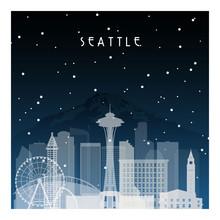 Winter Night In Seattle. Night...