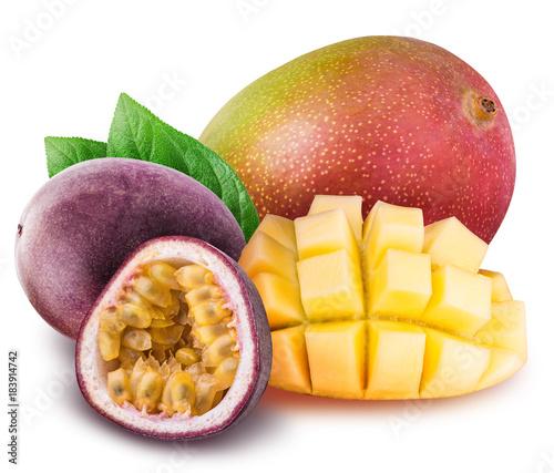 Mango and passion fruit isolated on white background