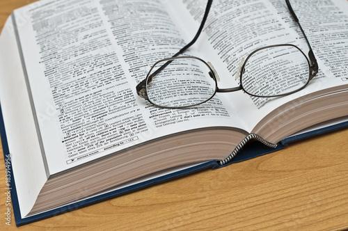 Wörterbuch mit Brille
