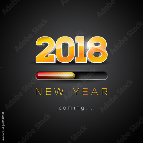 2018 new year coming illustration with 3d number and progress bar on black background vector