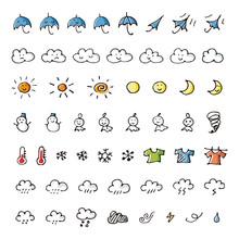 手書きの天気予報アイコンセット