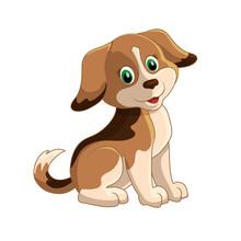 Cute Funny Cartoon Dogs Vector...