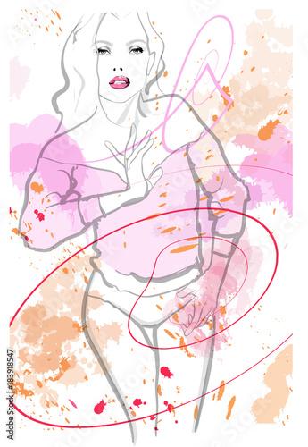 Tuinposter Art Studio pretty woman wearing lingerie