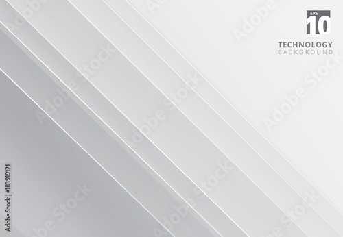 Abstract white and gray image that depicts technology with overlapping diagonal lines Fototapeta