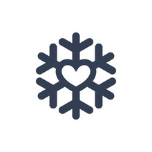 Snowflake With Heart Icon. Bla...
