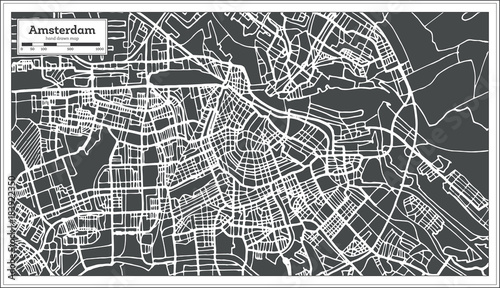 Canvas Print Amsterdam Holland Map in Retro Style.