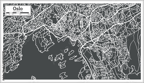 Oslo Norway Map in Retro Style. Tablou Canvas