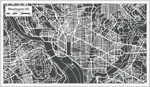 Washington DC USA Map In Retro Style.