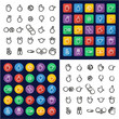 Hand Signs All in One Icons Black & White Color Flat Design Freehand Set
