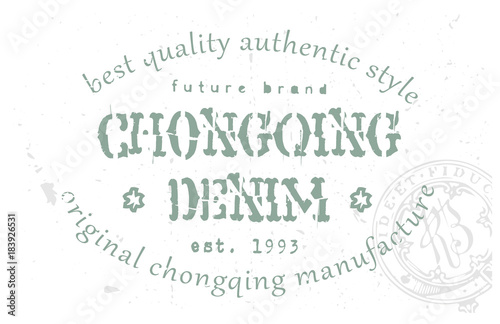 Poster  Chongqing denim clothing tag, for retail business, denim or other product