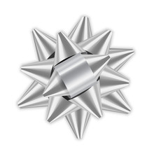 Silver Bow Ribbon 3D Decor Ele...