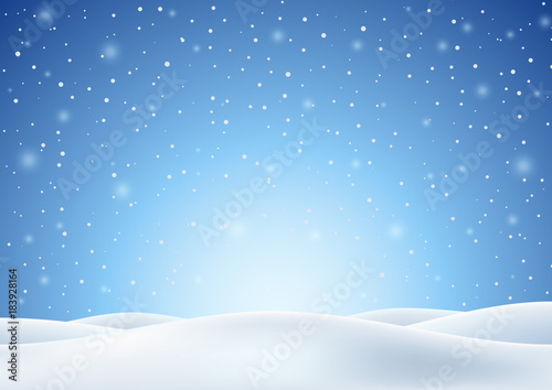 Recess Fitting Blue sky Winter Background with Falling Snow