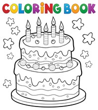Coloring Book Cake With 5 Cand...