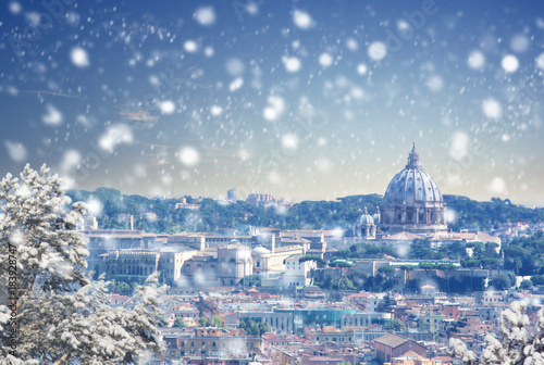 fototapeta na lodówkę Christmas background : Aerial view of Rome cityscape at winter sunset in Italy. Vintage colored picture. X-mas, Business, Love and travel concept