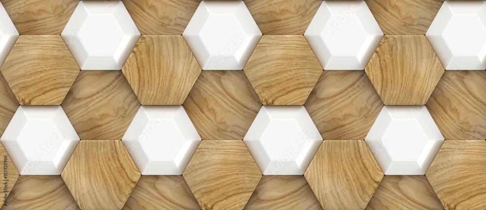 Fototapeta 3D Wallpaper of wood oak tiles and white ceramic hexagons. High quality seamless realistic texture.
