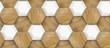 3D Wallpaper of wood oak tiles and white ceramic hexagons. High quality seamless realistic texture.
