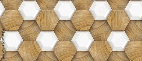 Fototapeta 3D Wallpaper of wood oak tiles and white ceramic hexagons. High quality seamless realistic texture. obraz