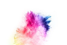 Abstract Powder Splatted On White Background,Freeze Motion Of Color Powder Exploding/throwing Color Powder, Multicolored Glitter Texture.