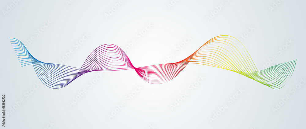 Fototapeta Abstract smooth curved lines Design element Technological background with a line in the form of a wave Stylization of a digital equalizer Smooth flowing wavy stripes of a rainbow made by blends Vector - obraz na płótnie