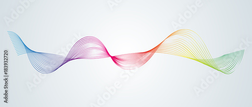 Fotobehang Abstract wave Abstract smooth curved lines Design element Technological background with a line in the form of a wave Stylization of a digital equalizer Smooth flowing wavy stripes of a rainbow made by blends Vector