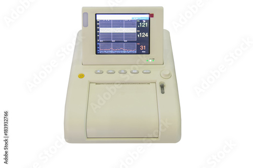 Photo Isolated Non stress test monitor which shows the fetus and mother heart and stre