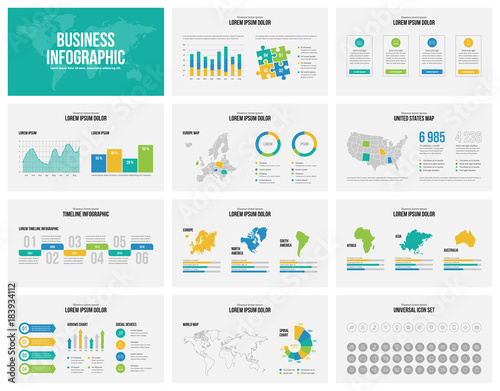 Presentation slides business vector template with maps. Canvas-taulu