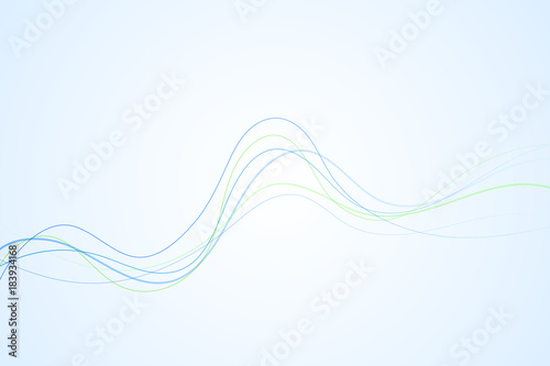 Photo  Abstract blue and green curved and wavy lines