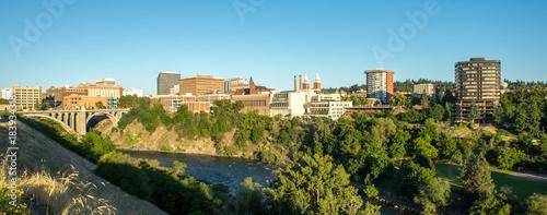 Poster Panoramafoto s spokane washington city skyline and streets