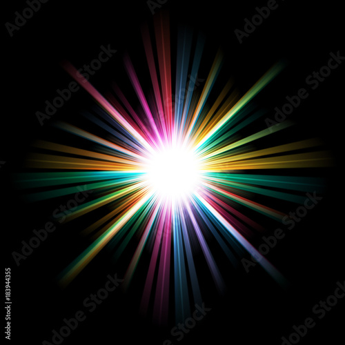 Fotomural  Abstract bright and colorful starburst background.
