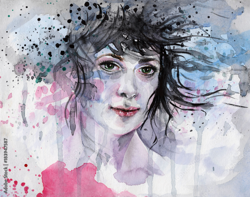 Watercolor illustration, depicted the woman's portrait in blue and pink tones