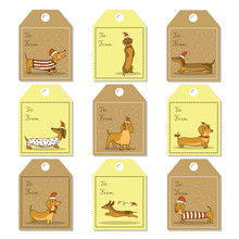 Christmas Labels With Dogs