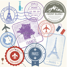 Travel Stamps Set - France And...