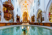 Interior Of The Church Maria Himmelfahrt - Landsberg Am Lech - An Ancient Marble Holy Water Stoup