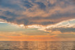 Scenic view of beautiful dramatic sunset over the sea
