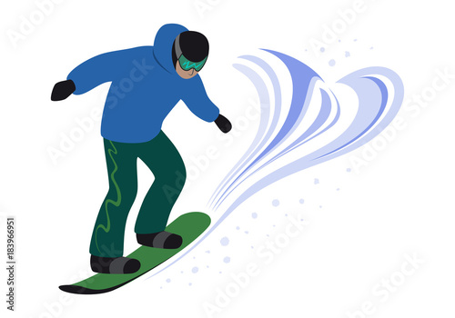 Snowboarder Man Riding And Jump Snowboarding Freestyle