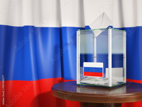 Stickers pour porte Pierre, Sable Ballot box with flag of Russia and voting papers. Russian presidential or parliamentary election.
