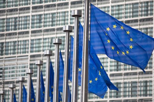 European Commission EU flags in Brussels