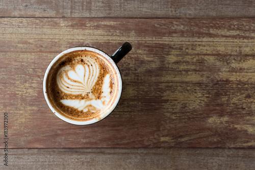 Spoed Foto op Canvas koffiebar Hot cappuccino