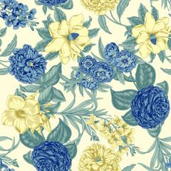 Panel Szklany Podświetlane Florystyczny Векторный бесшовный фон в винтажном стиле. Цветы.