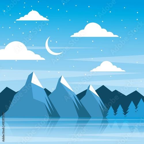 Foto op Aluminium Blauw night winter mountains moon clouds pine tree reflection vector illustration