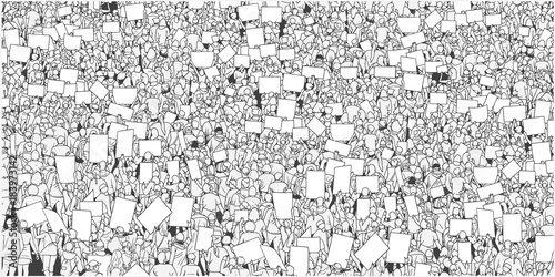 Fotografia Illustration of massive crowd protest with blank signs