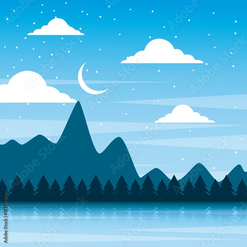 Foto op Aluminium Blauw landscape night mountains forest pine tree and sky moon vector illustration